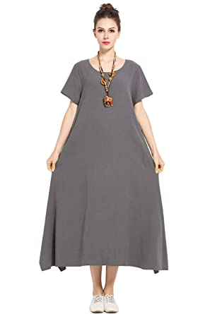 3714ab78857 Anysize Linen Cotton Soft Loose Spring Summer Dress Plus Size Clothing  F126A Gray