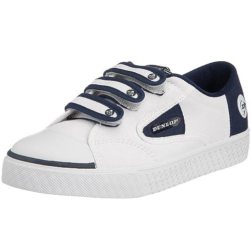 Dunlop 1555 Flash Velcro W, Zapatillas de Tenis para Mujer, Blanco y Azul, 42 2/3 EU: Amazon.es: Zapatos y complementos