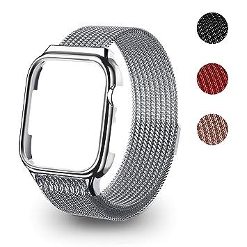 USAMS Watch Correas,Malla de Acero Inoxidable Milanesa Correa de Hebilla de Cierre Compatible Magnético iWatch Correa para Apple Watch Serie 4 40mm ...