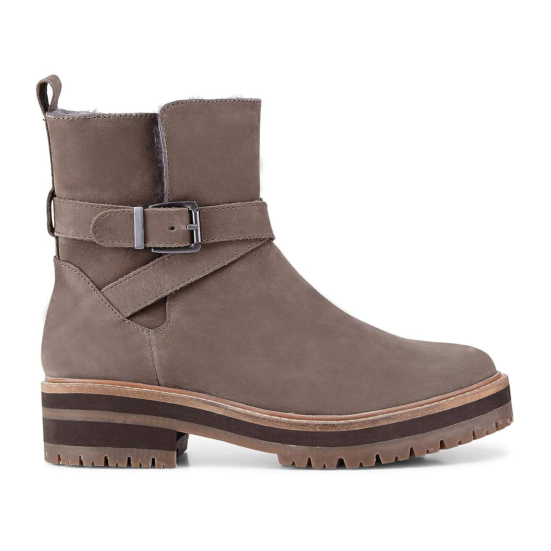 Cox Stiefel Damen Winter-Stiefel aus Leder, Stiefel Cox in Grau mit angenehm warmem Lammfell Innen-Futter 7b072a
