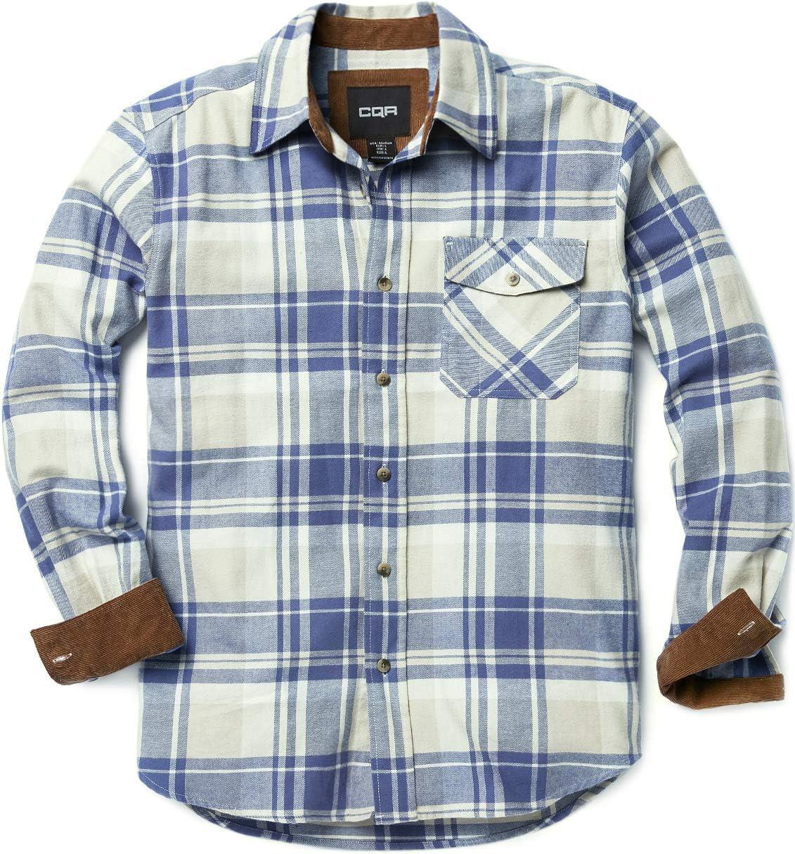 CQR HOF110 - Camisa de franela para hombre (manga larga, con botones, 100% algodón), Unisex adulto Niños Hombre Infantil, CQ-HOF110-CBL, xxx-large: Amazon.es: Deportes y aire libre