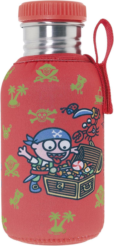 Katuki Saguyaki - Botella Infantil de Acero Inoxidable 18/8 con Tapón y Funda de Neopreno Rojos