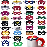Superhero Masks Party Favors for Kid (33 Packs) Felt and Elastic - Superheroes Birthday Party Masks with 33 Different Types f