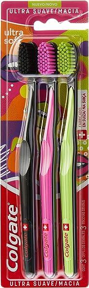 Colgate Escova Dental Colgate Ultra Soft, 3 Unidades, (cores sortidas)
