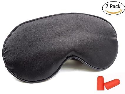 HKA 2 pcs natural Seda sueño máscara y venda, máscara Antifaz para dormir, liso