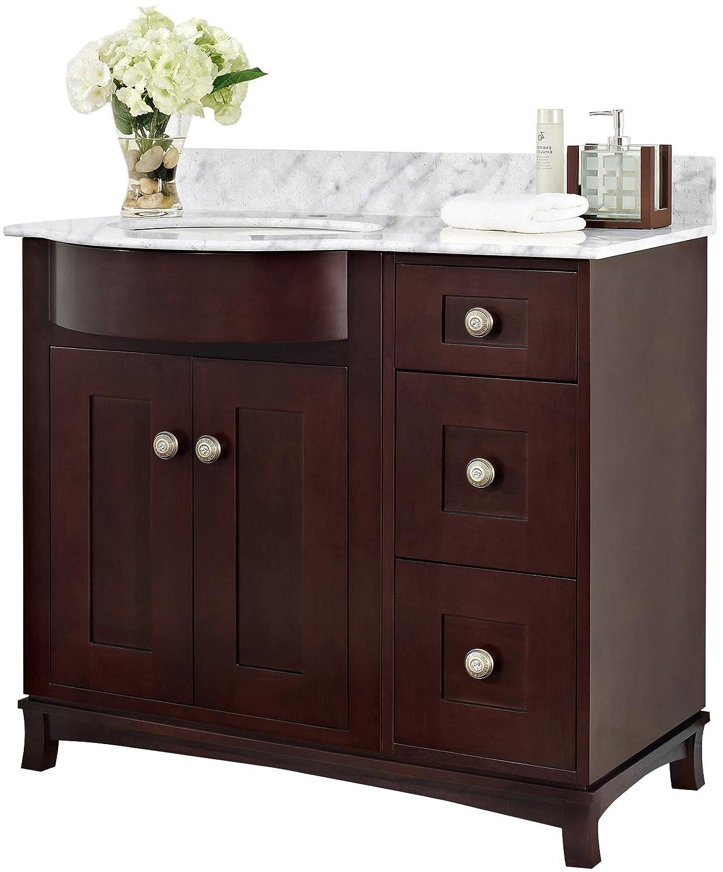 """lovely Jade Bath JB-18416 36"""" W x 22"""" D Birch Wood-Veneer Vanity Set, Coffee"""