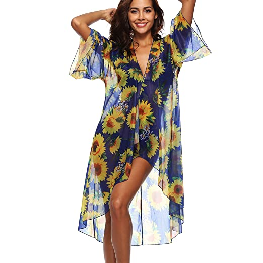 fe6985c311 Image Unavailable. Image not available for. Color: Licoers Chiffon Long  Kimono Cardigan Sunflower Cover ups for Swimwear ...