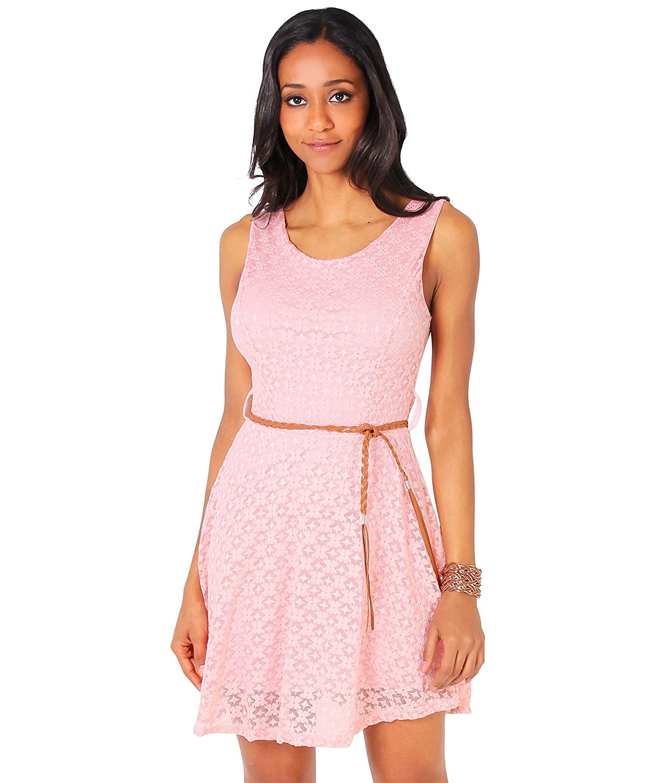 KRISP Damen Mini Skater Spitzenkleid Trägerkleid mit Gürtel