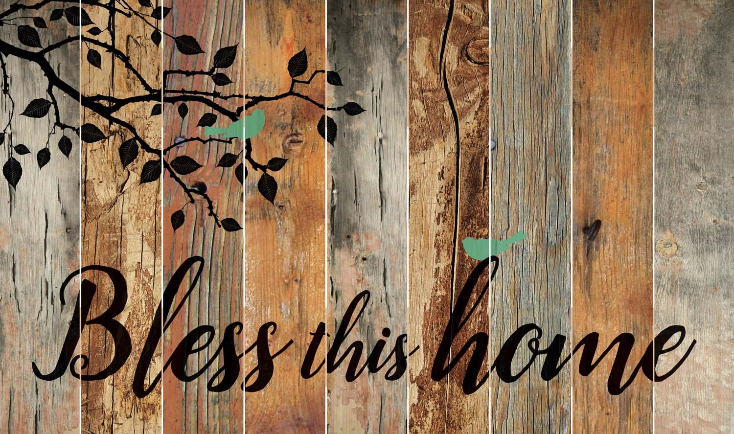 Bless this Home Bird Leaves Silhouette 28 x 47 Wood Large Barn Board Wall Art Sign Plaque