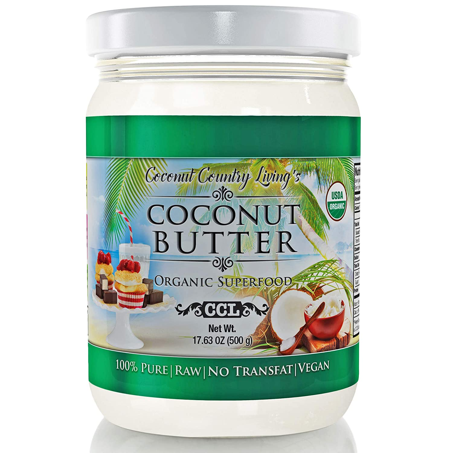 Organic Coconut Butter 2 Pack 17.6 oz each Stone Ground Pureed w/ E-Book of Organic Gourmet Keto Paleo Friendly Recipes