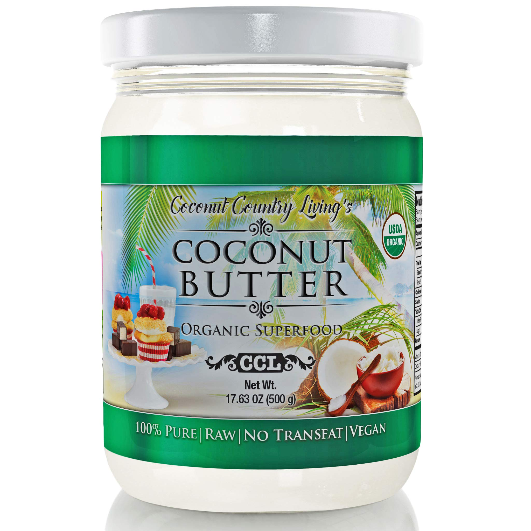 Organic Coconut Butter 2 Pack 17.6 oz each Stone Ground Pureed w/E-Book of Organic Gourmet Keto Paleo Friendly Recipes by Coconut Country Living