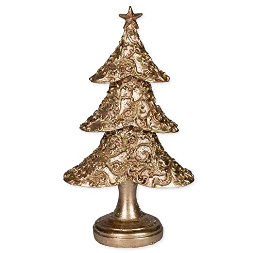 Christmas Tablescape Decor - Rose Gold Embossed Filigree Table Top Christmas Tree Figurine