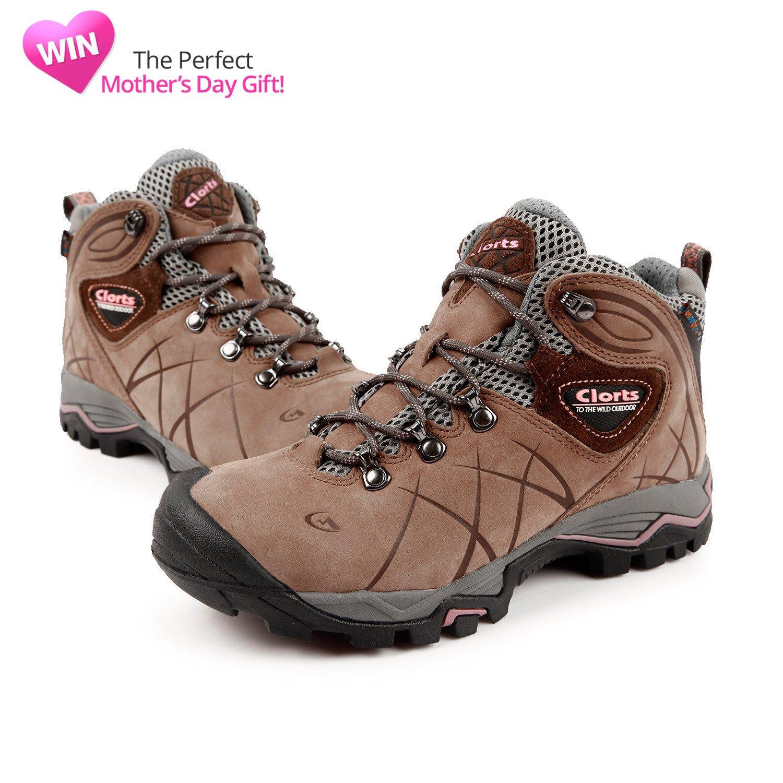 c3ee67f3820 Clorts Women's Mid Waterproof Hiking Boot Nubuck Leather Hiker Lightweight  Outdoor Backpacking Shoe