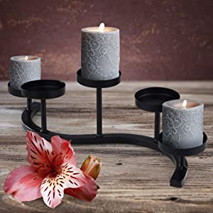 Wrought Iron Candle Holder (Black/5) Hand-Forged Wave Candelabra Centerpiece