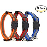 Reflective Cat Collar with Bell, Set of 3 OR 6, Solid & Safe, Nylon, Mixed Colors, Pet Collar, Breakaway Cat Collar, By Bemix Pets