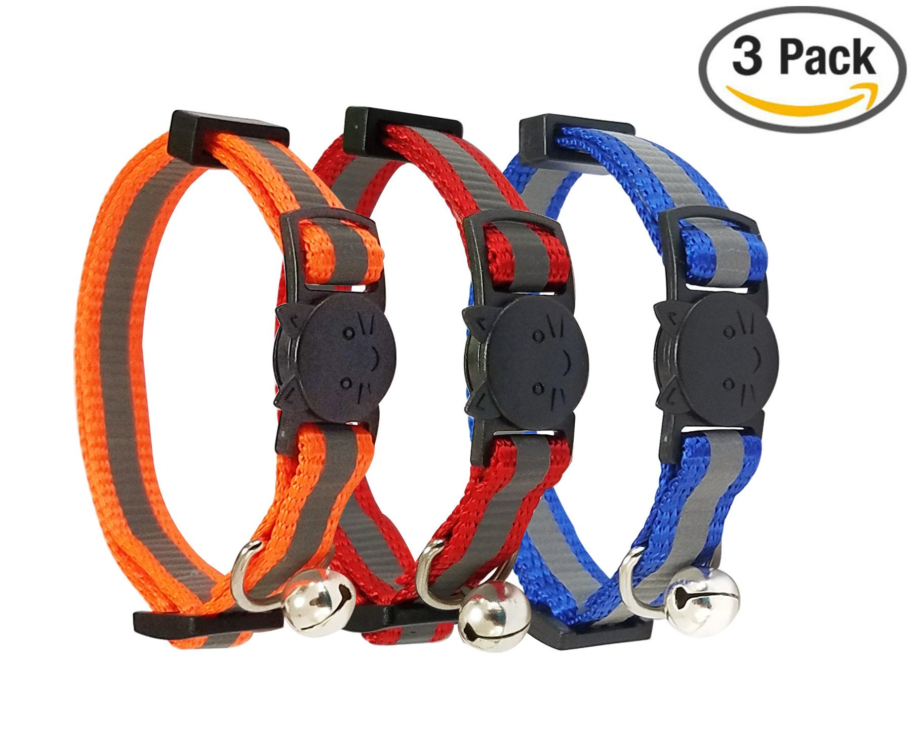 Reflective Cat Collar with Bell Set of 3 OR 6 Solid & Safe Nylon Mixed Colors
