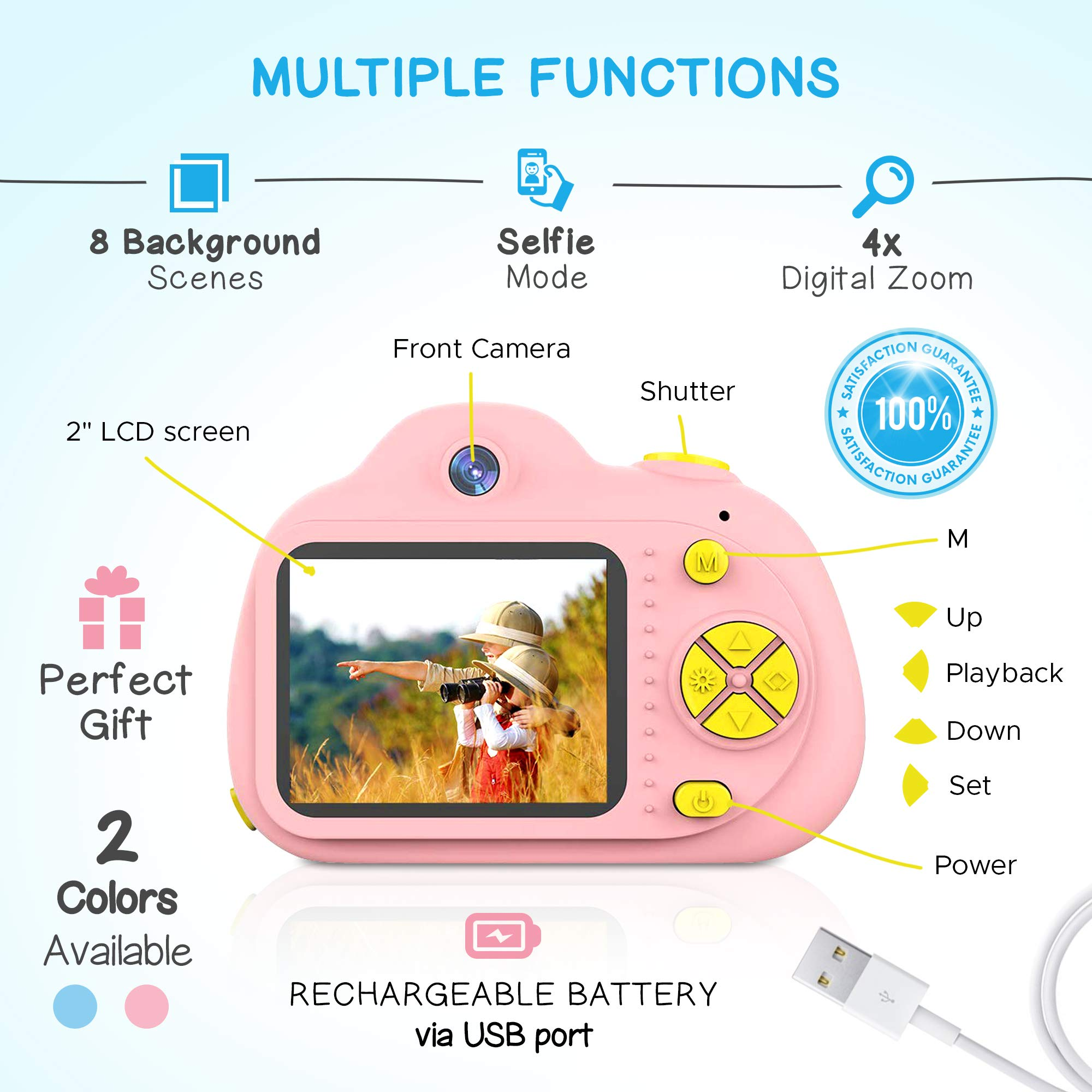 SANVOY Kids Camera - 8MP Photography and 1080 HD Video for Children - 2.0'' LCD Screen, 4X Digital Zoom with Selfie Function in Blue or Pink - Small Camera for Easy Transport by SANVOY (Image #2)