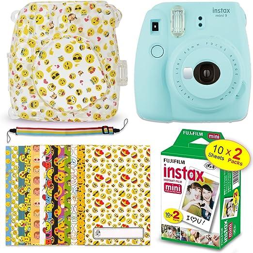 FujiFilm Instax Mini 9 Instant Camera ICE Blue + Fuji Instax Film (20 Sheets) + Emoji Print Hard Clear Case + 20 Emoji Sticker Frames + Rainbow