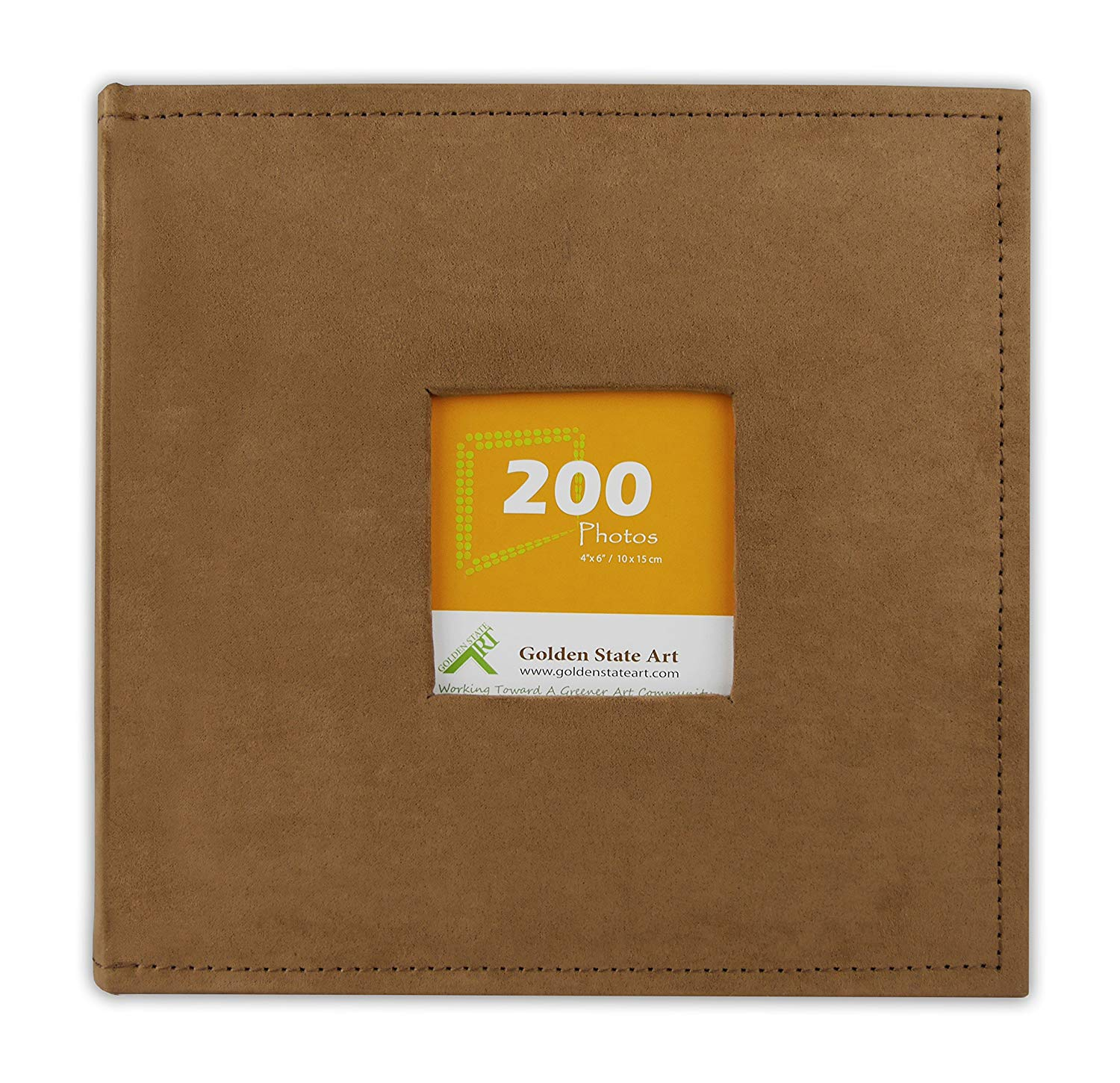 Golden State Art, Photo Album Rusty Bronze Suede Cover, Holds 200 4x6 Pictures V2-N55018-3 RB