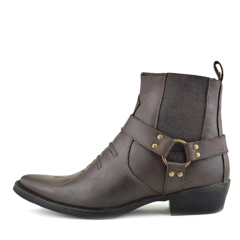 Mens Cowboy Leather Ankle Boots Biker Boots 41 EU|Brown - 2