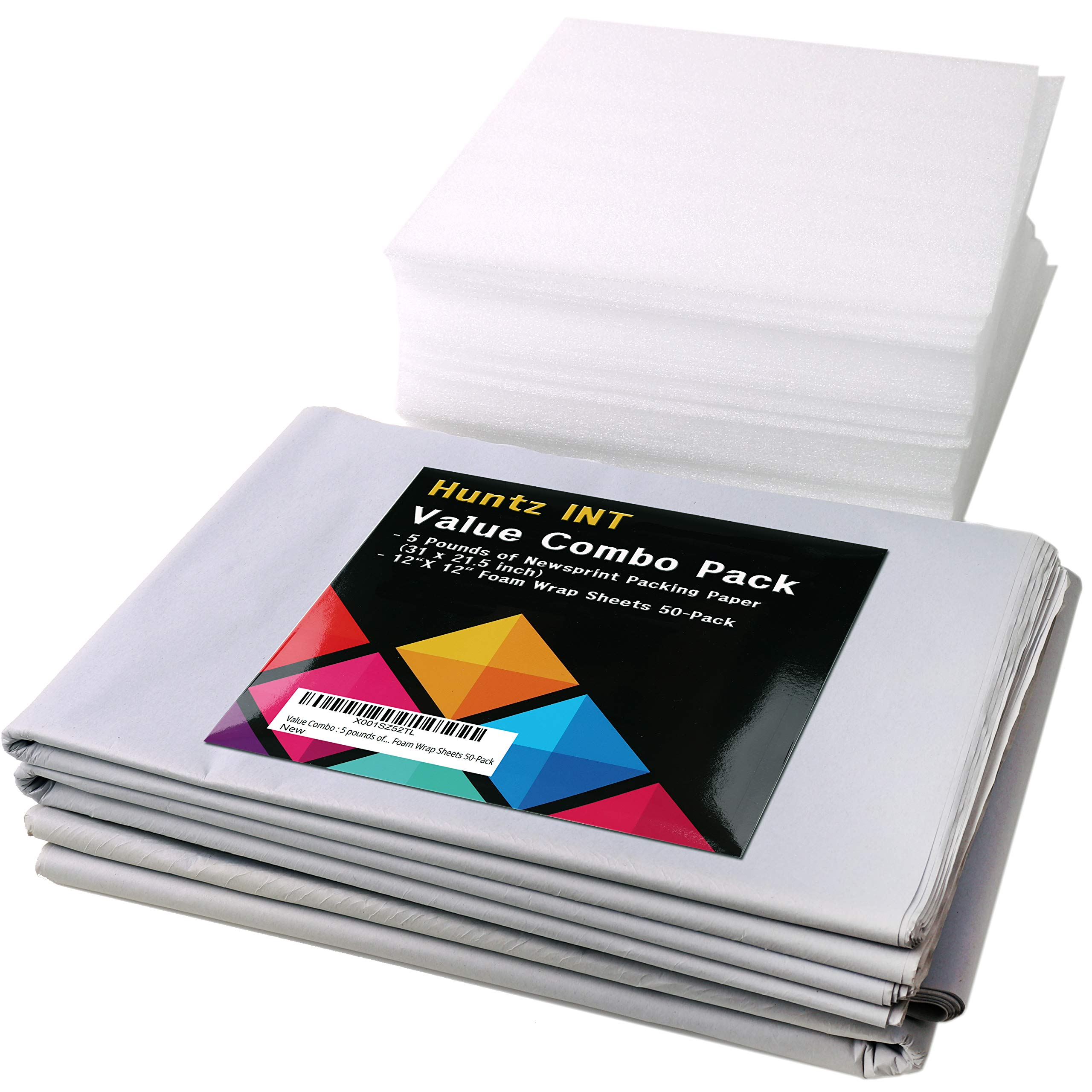 Value Combo : 5 pounds of Quality Packing Paper (31 x 21.5 inch) & 12''X 12'' Foam Wrap Sheets 50-Pack