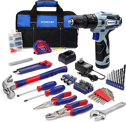 WORKPRO 12V Cordless Drill and Home Tool Kit