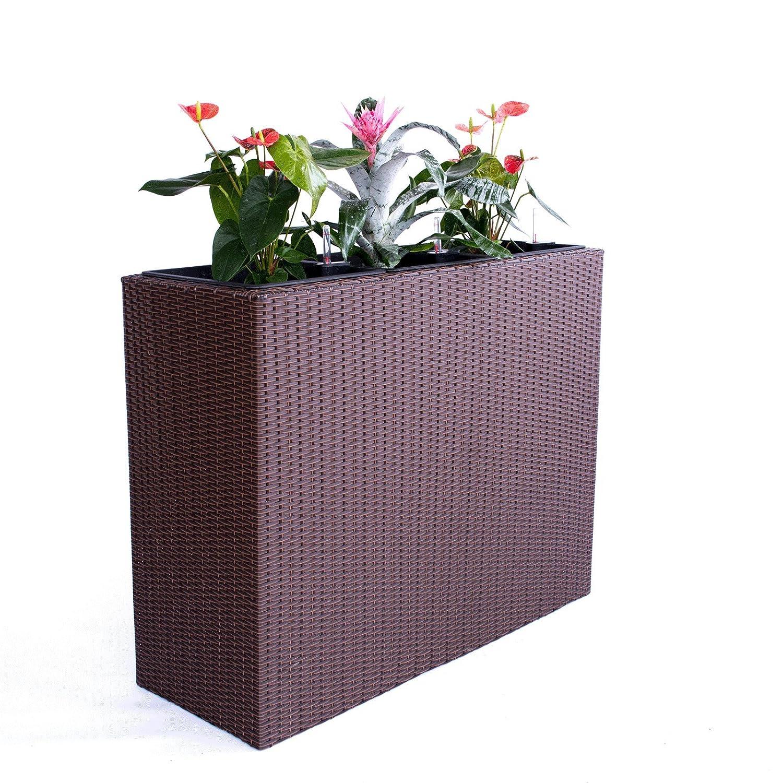 XXXL Pflanztrog Blumentrog Trennelement Polyrattan als Raumteiler LxBxH 82x30x80cm braun
