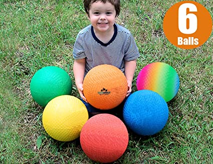Toysopoly Playground Balls 8 5 Inch Dodgeball Set Of 6 Kickball For Kids And Adults Official Size For Dodge Ball Handball Camps Picnic Church