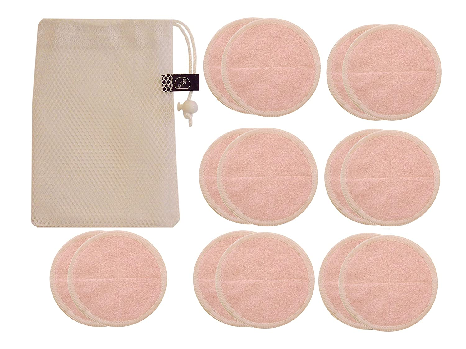 STEPNSD Premium Stitched Organic Bamboo Makeup Remover Pads - 14 Pack with Laundry Bag - Chemical Free & Reusable, Soft Facial and Skin Care Wash Cloth Towel (Pink)