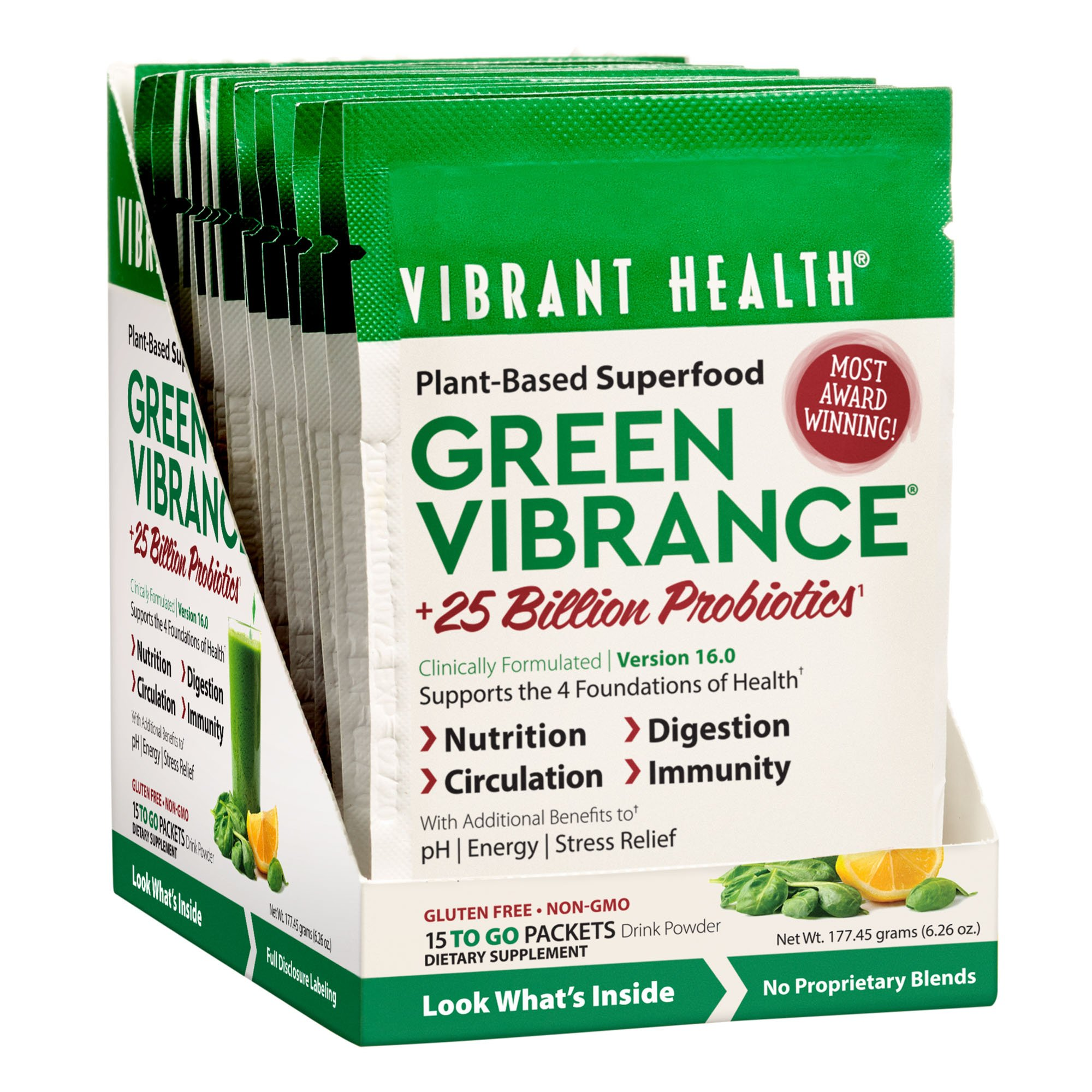 Vibrant Health - Green Vibrance, Plant-based Daily Superfood + Protein and Antioxidants, 15 Packets by Vibrant Health (Image #2)