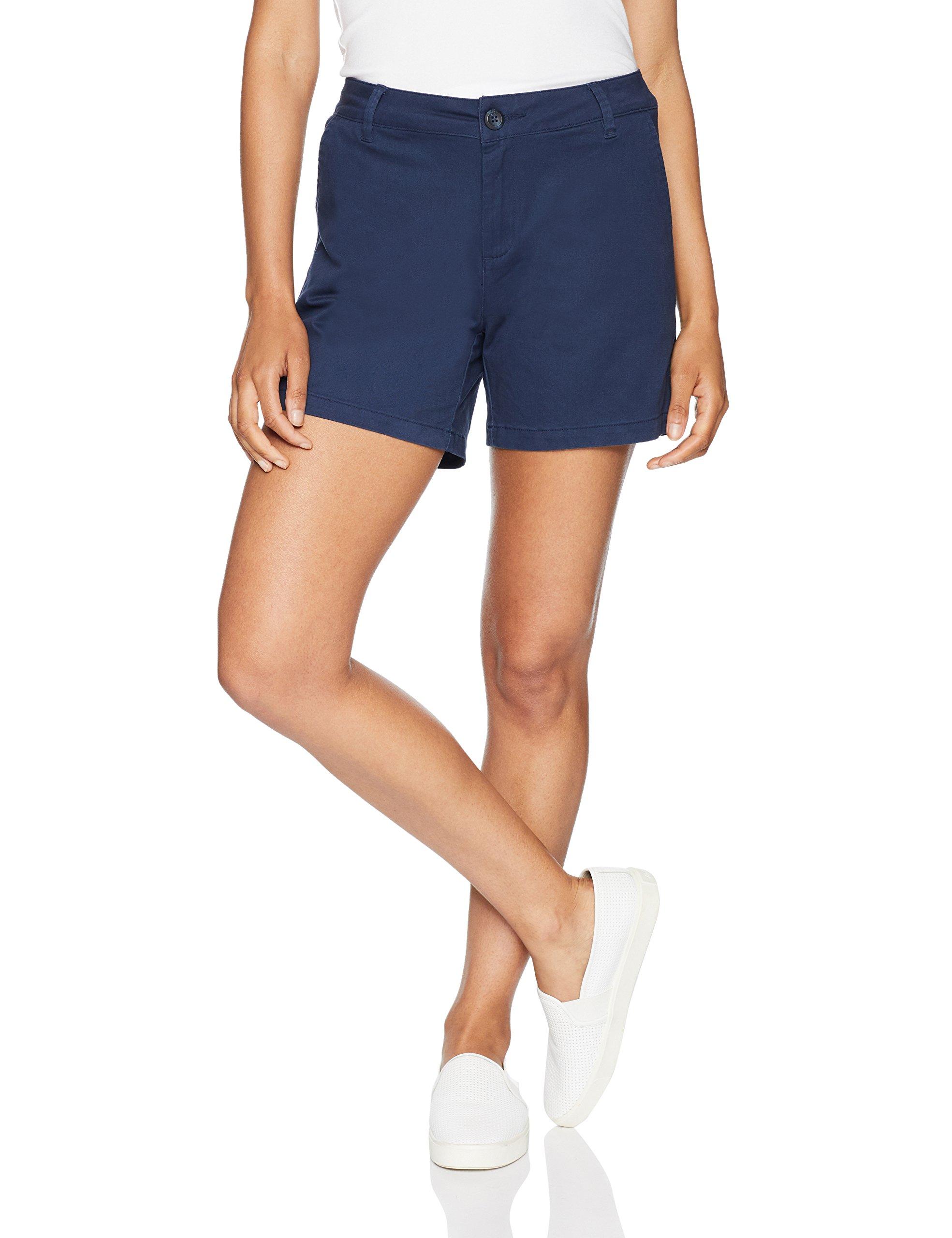 Amazon Essentials Women's 5'' Inseam Solid Chino Short Shorts, Navy, 14