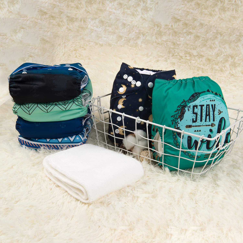 inkl wiederverwendbar 6 St/ück 12 Einlagen Alva Baby-Stoffwindeln waschbar