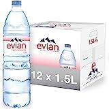 evian Natural Spring Water, Naturally Filtered Spring Water, Individual Bulk-Size Water Bottles, 50.72 Fl Oz (Pack of 12)