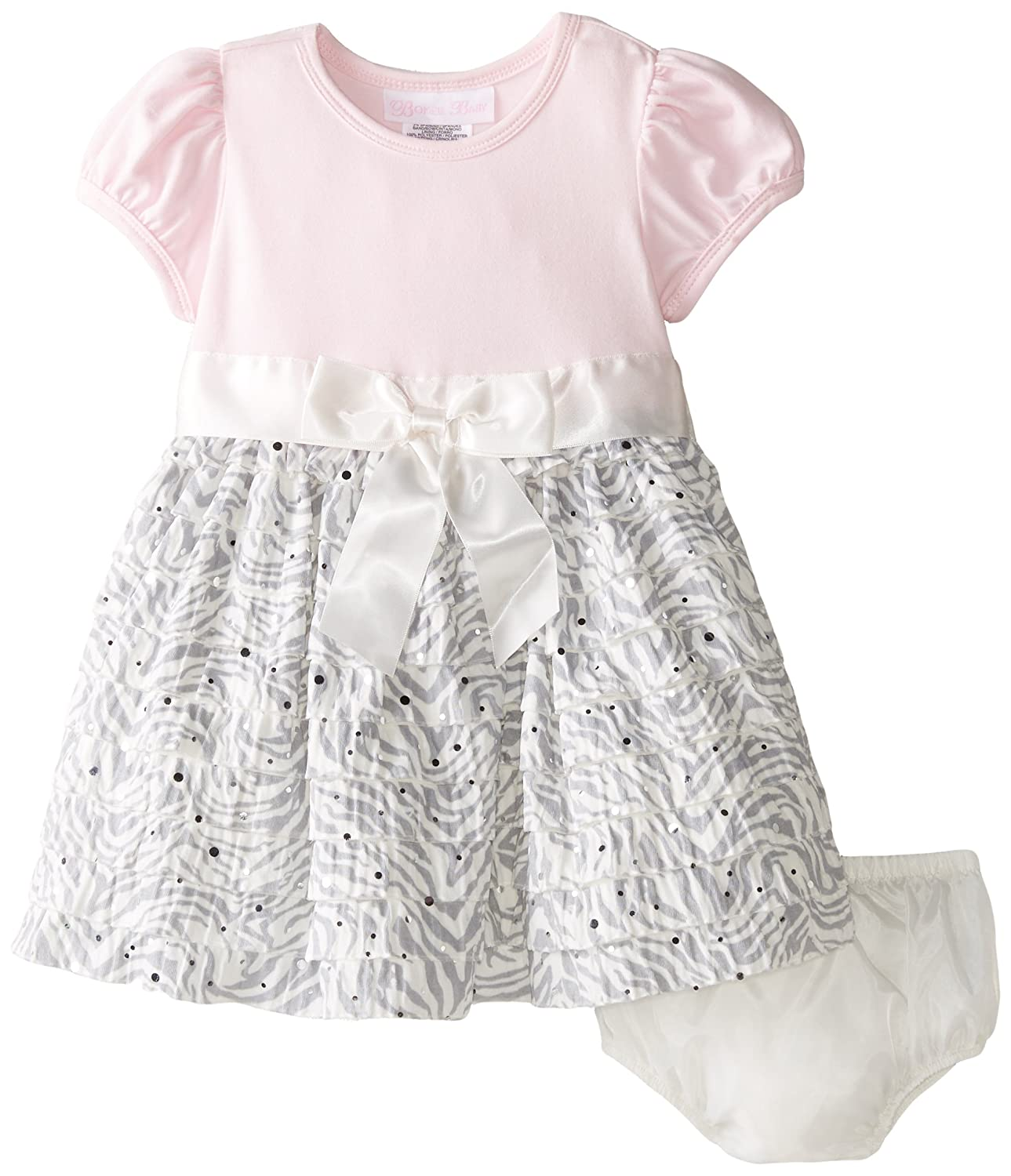Baby Girls 3M-24M Pink Knit to Spangled Zebra Eyelash Dress
