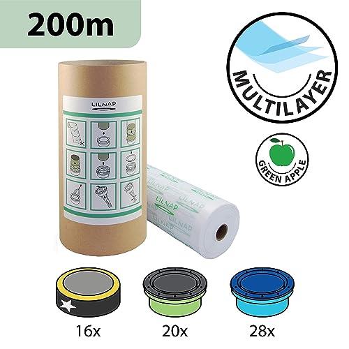 LILNAP Recharges de poubelle à couches et anti-odeurs compatible avec Sangenic, Angelcare et Litière Litter Locker II - inclus le tube en carton pour faciliter la recharge (200m)