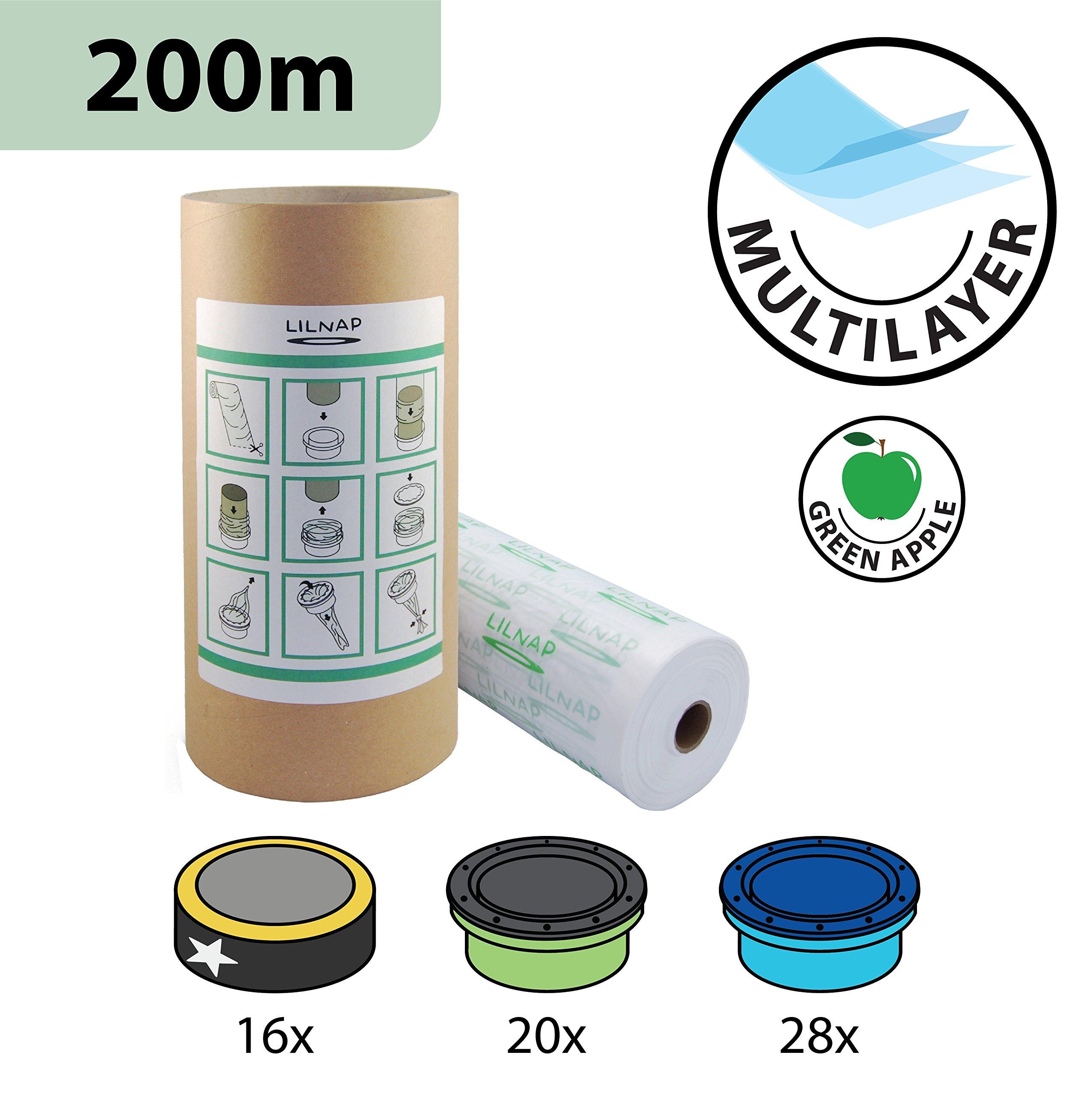 LILNAP Recharges de poubelle à couches et anti-odeurs compatible avec Sangenic, Angelcare et Litière Litter Locker II - inclus le tube en carton pour faciliter la recharge (200m) product image