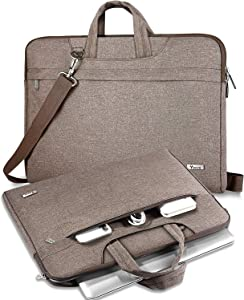 "V Voova Laptop Case 14 15 15.6 inch Laptop Messenger Bag Protective Chromebook Bag With Shoulder Strap Compatible for 16"" New MacBook Pro,Surface Laptop 3,Acer Aspire 5,HP 15.6,XPS 15 Sleeve,Khaki"