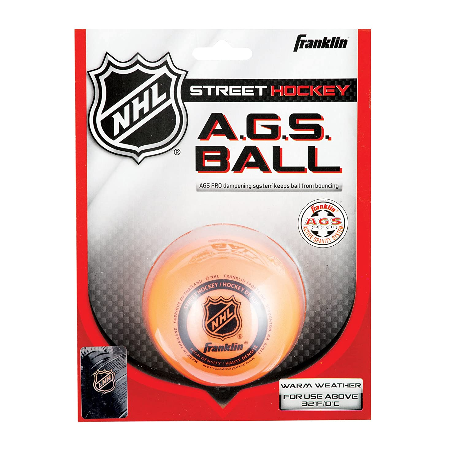 FRANKLIN - AGS Streethockey Ball NHL I Ball für Roller- und Inlinehockey I Outdoor Ball mit Active-Gravity-System I speziell gedämpfte Flüssigkeit im Ballinneren I mittelhart I hitzetauglich - Orange 12217