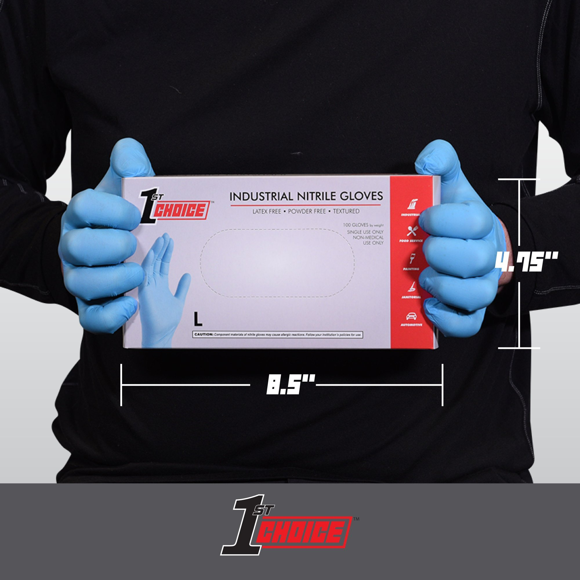 1st Choice Blue Nitrile 3 Mil Thick Disposable Gloves, Medium, Case of 1000 - Industrial Grade, Latex-Free by 1ST CHOICE (Image #4)