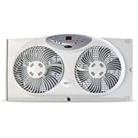 "Bionaire BW2300-N Twin Reversible Airflow Window Fan with Remote Control, 4.25"" D x 24.25"" W x 13"" H, Multi"