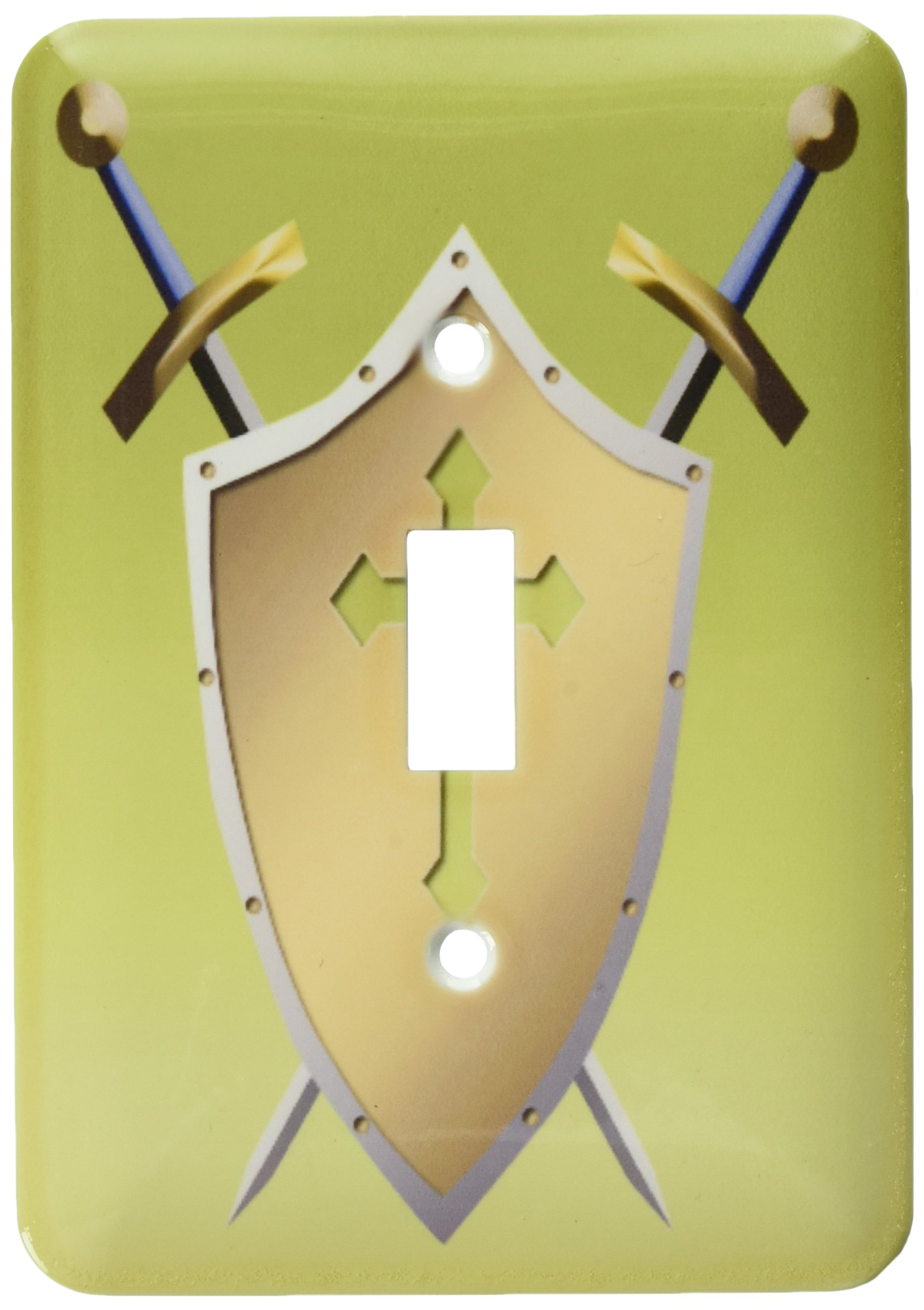 3dRose LLC lsp_40077_1 Golden Shield with Crossed Swords and The Christian Cross and Background In Earls Green Single Toggle Switch