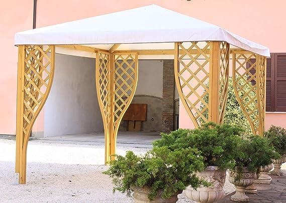 taddei Cenador Copa PK de jardín de Madera 300 x 300 cm Cubierta de PVC Salvia: Amazon.es: Jardín