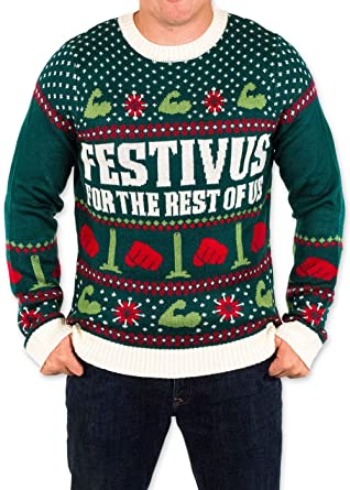 festified mens festivus for the rest of us ugly christmas sweater in green by small - Best Christmas Sweaters
