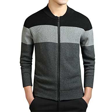 62cb5356be B dressy Handsome and Silm Clothing Knitted Cardigan Mens Sweater Fashion O-Neck  Striped Slim