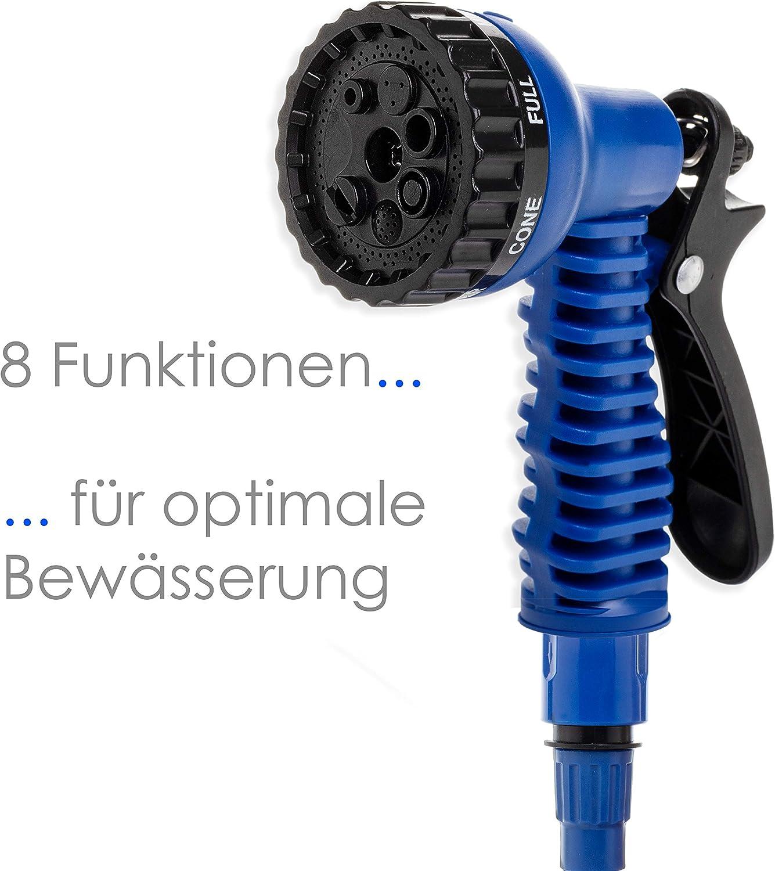 Blau Adapter inkulsive passend f/ür jeden Wasserhahn mit Gewinde Kesser/® 30m Flexibler Gartenschlauch Basic Wasserschlauch dehnbarer Flexischlauch Multisfunktionsbrause mit 8 Funktionen