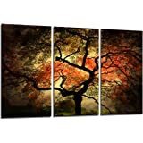 Yin Art 3-Panel Split Canvas Print Wall Art Set - Large Japanese Maple Tree Landscape in Autumn Triptych - 12x24 Inch