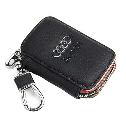71dc08d41aef Amazon.com: Amooca Black Audi Premium Leather Car Key Chain Coin Holder Zipper  Case Remote Wallet Bag: Amooca