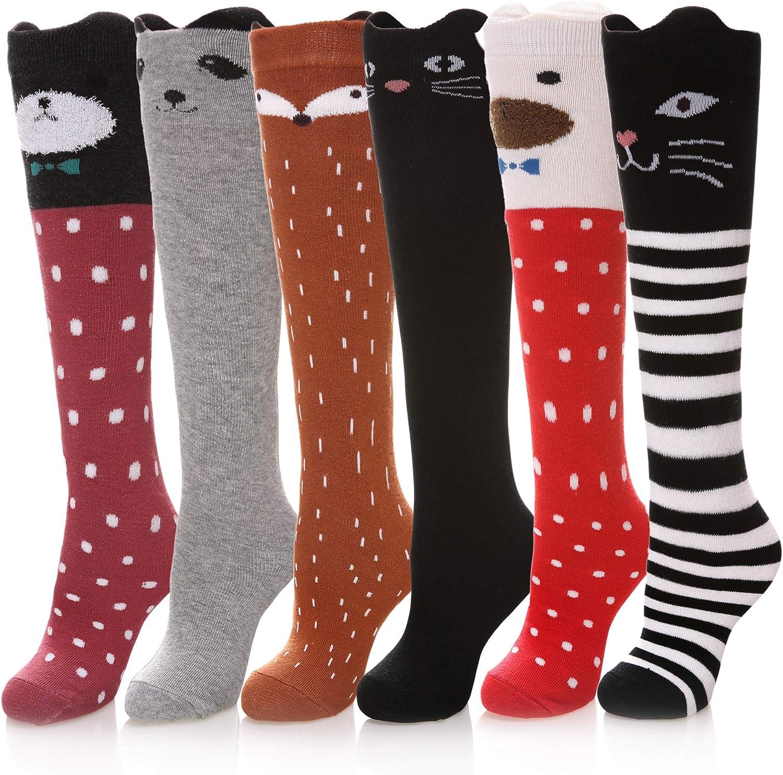 Girls Toddler Kids Warm Cartoon Stockings Socks Big Eyes Knee High Cotton USA