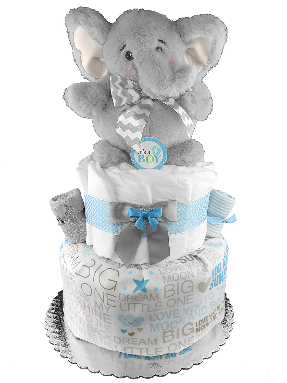 Amazon Com Elephant Diaper Cake Baby Shower Gift Baby Boy Gift