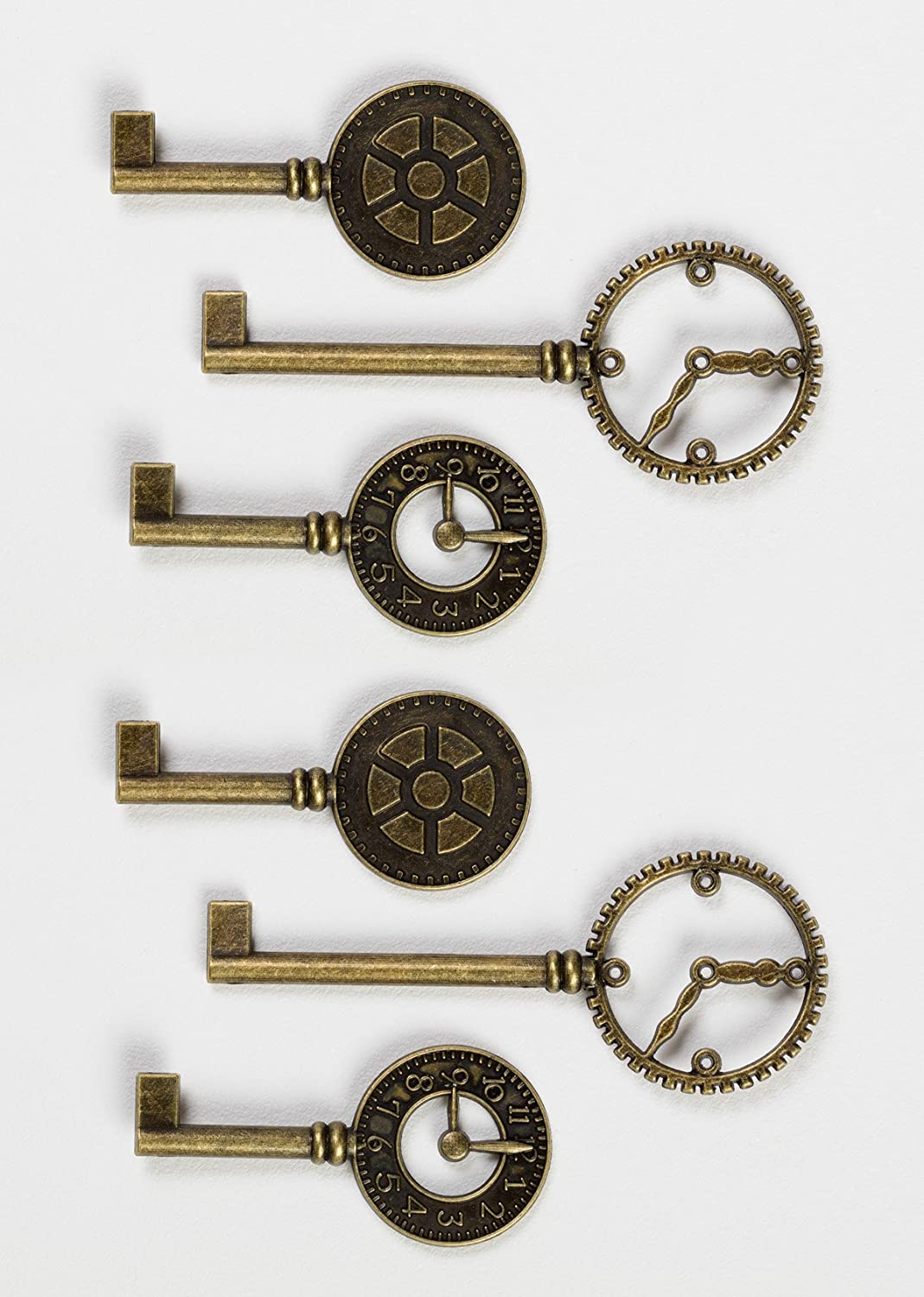 Graphic 45 260614 Staples Metal Clock Keys 6// Package Antique Brass 2X1 to 3X1.125